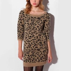 Urban Outfitters Animal Print Sweater Dress Mini